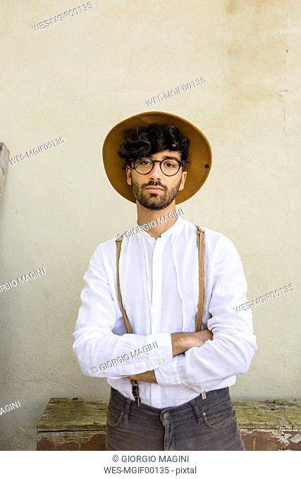 Portrait of man wearing old-fashioned clothes