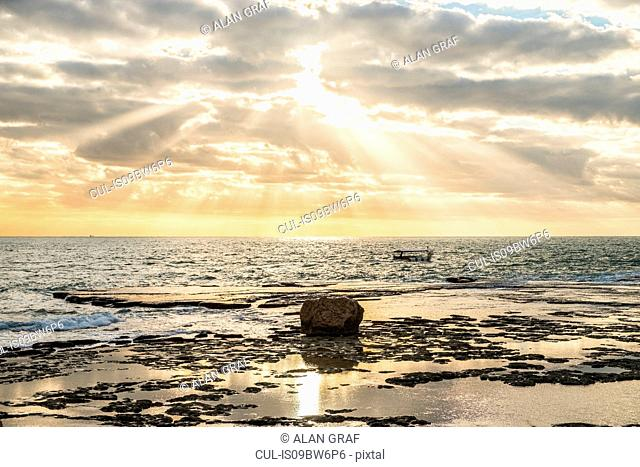 Sunlit seascape, Byblos, Mount Lebanon, Lebanon