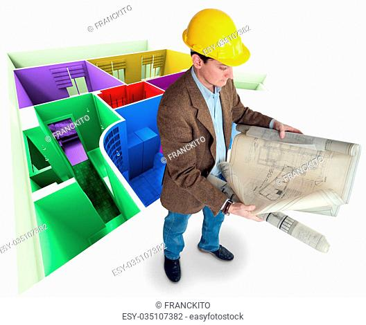 Architect looking at his plans with a roofless colorful apartment