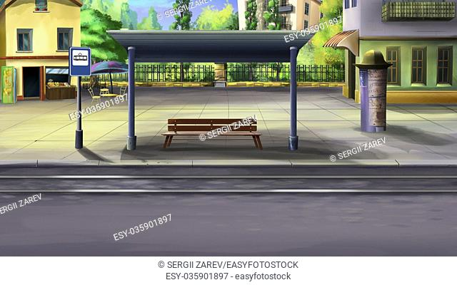 Digital painting of the Tram stop