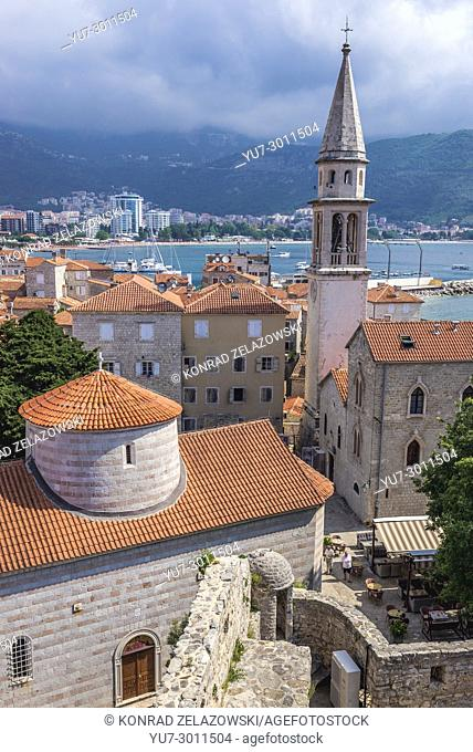 Holy Trinity Church and Saint John Cathedral on the Old Town of Budva city on the Adriatic Sea coast in Montenegro