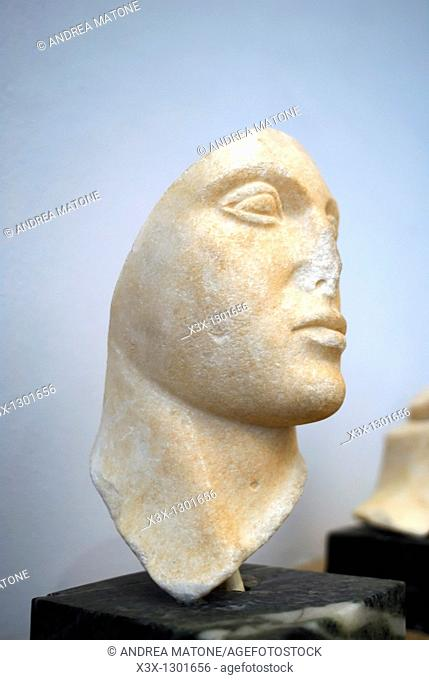 "Female marble head portrait from the E Temple of Selinunte Regional Archaeological Museum ""Antonio Salinas"" Palermo Sicily Italy"