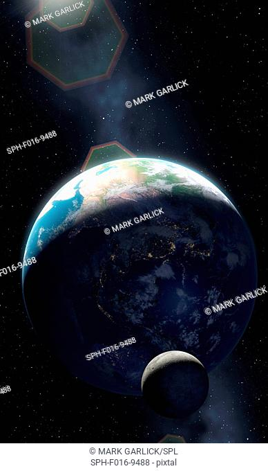 Illustration of the Earth and Moon showing a large proportion of the planet in darkness. Cities are seen glistening, defining the edges of the continents