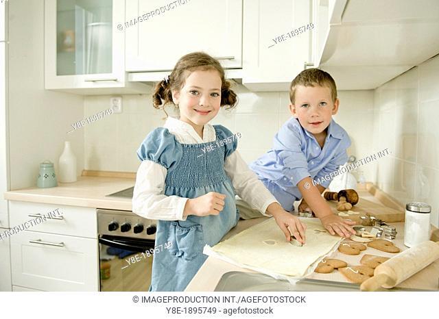 Children (4-5) making cookies