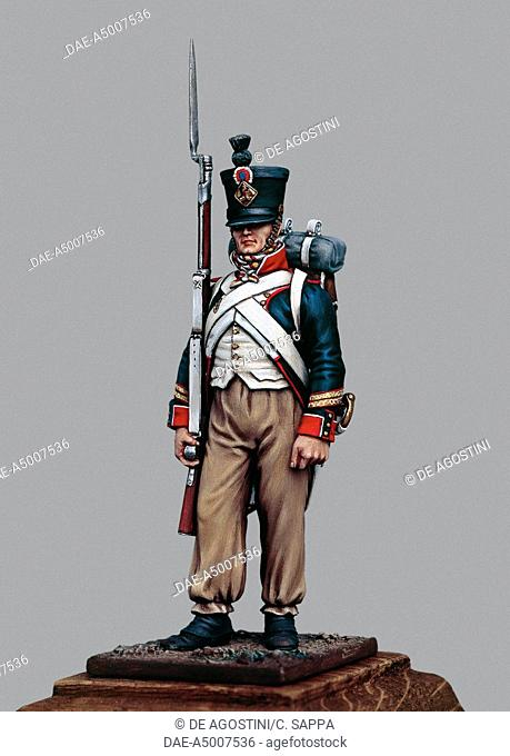 Sergeant of Line infantry fusiliers, 1807, 5.4 cm, toy soldier from the Napoleonic era, made by Bruno Leibovitz, Metal Modeles series