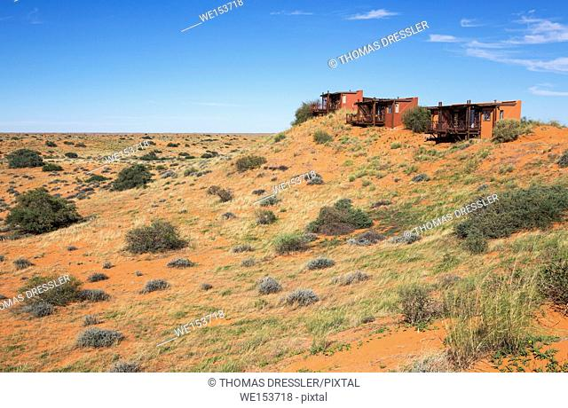 The secluded Kieliekrankie Wilderness Camp is situated on one of the highest dunes in the park. Kalahari Desert, Kgalagadi Transfrontier Park, South Africa