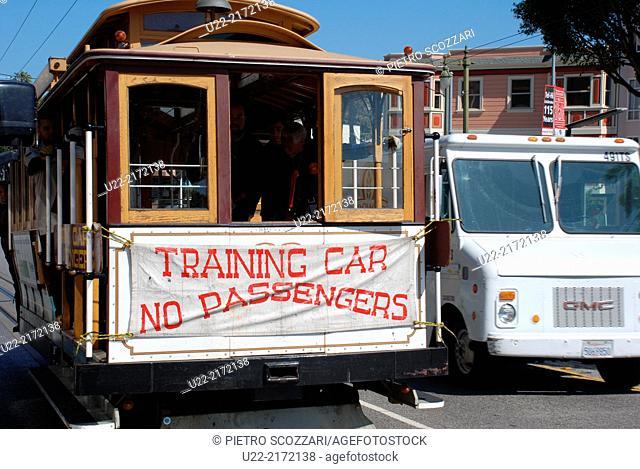 San Francisco, California, U.S.A., training cable car
