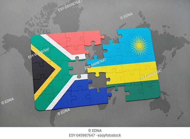 puzzle with the national flag of south africa and rwanda on a world map background. 3D illustration
