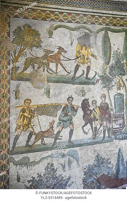 Mosaics of The Small Hunt, no 25 - Roman mosaics at the Villa Romana del Casale which containis the richest, largest and most complex collection of Roman...
