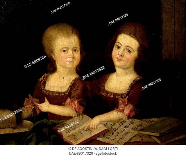 Girls at the music studio, painting by an unknown 18th century artist.  Prague, Vila Bertramka Muzeum W.A. Mozarta A Manzelu Duškovych (Museumof Mozart And...