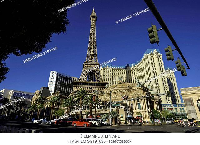United States, Nevada, Las Vegas, the Strip and Paris-Las Vegas Hotel