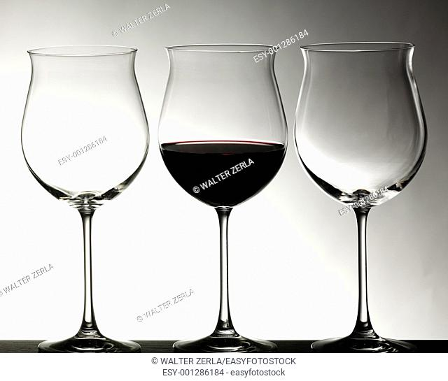Crystal glasses with red wine
