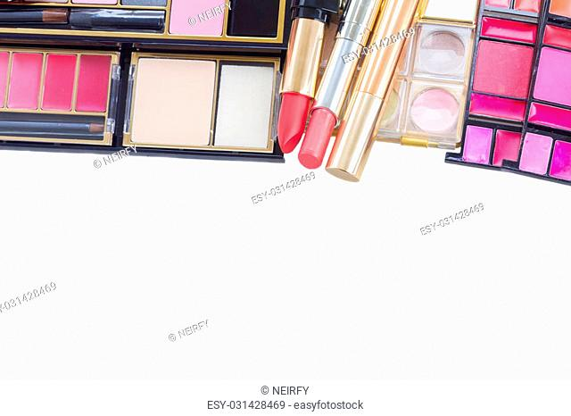 make up products border isolated over white background