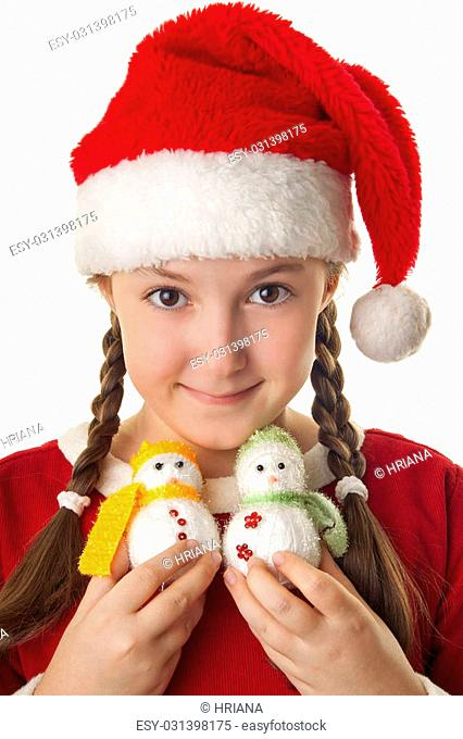 899a287a78cd Beautiful girl dressed in Christmas clothes and red santa hat with two cute  little snowmen in