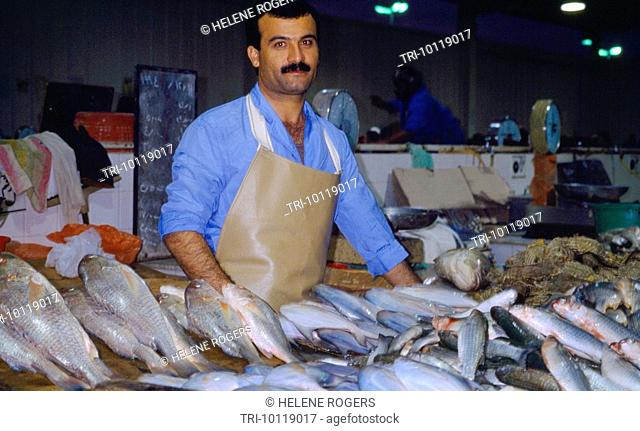 Kuwait City Kuwait Kuwaiti Man At The Fish Souk