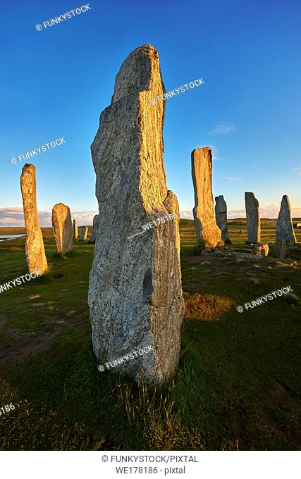 Monolth of Calanais Neolithic Standing Stone (Tursachan Chalanais) , Isle of Lewis, Outer Hebrides, Scotland