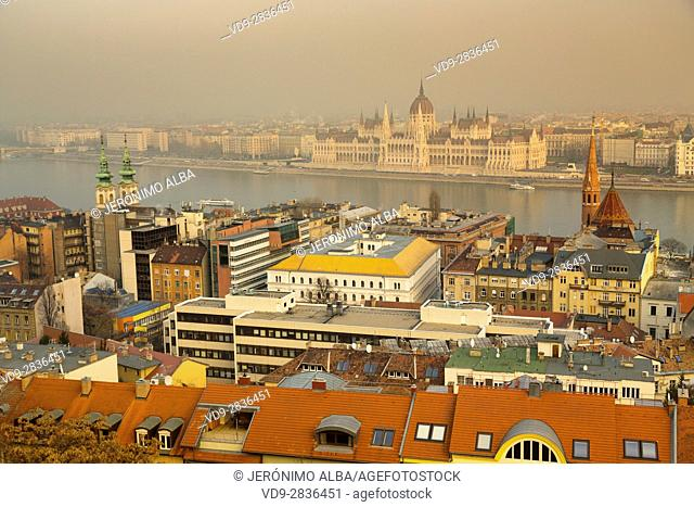 Panoramic view of the Parliament and the Danube from Buda. Budapest Hungary, Southeast Europe