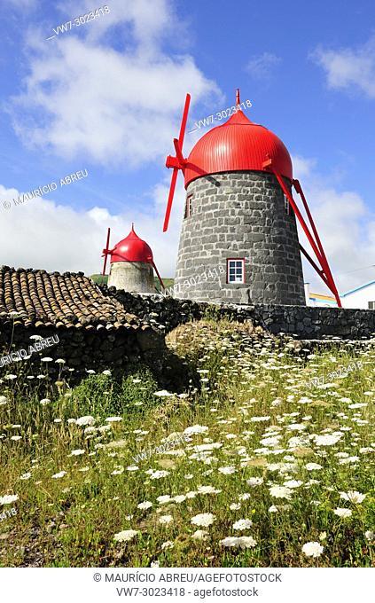 Traditional windmills at São Mateus (Praia), Graciosa island. Azores. Portugal