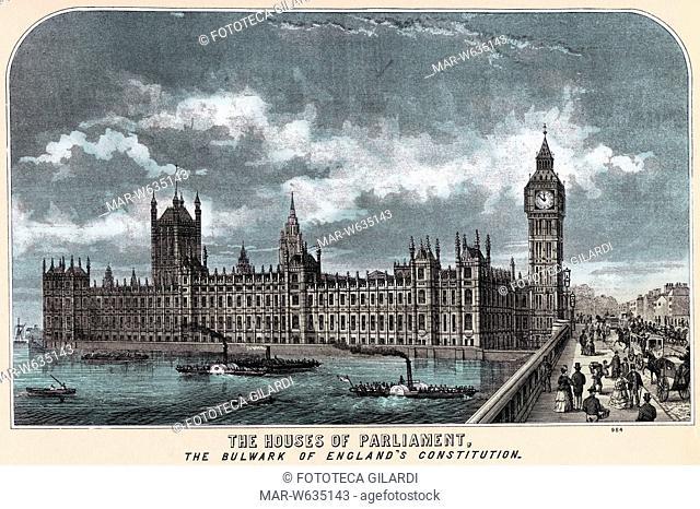 LONDRA 'The Houses of Parliament', incisione di E.S.& A. Robinson stampatori in Bristol, 1880, Copyright © Fototeca Gilardi