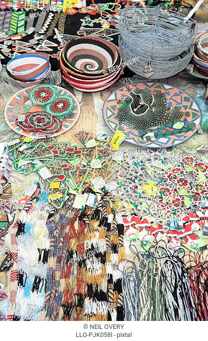Various African beaded and wire crafts. nr Empangeni, Kwa-Zulu Natal Province, South Africa