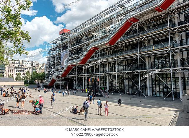 Europe, France, Paris, Centre Georges Pompidou also known as the Pompidou Centre is a complex building in the Beaubourg area of the 4th arrondissement of Paris