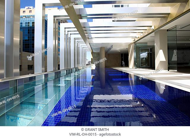 The Olsen, Melbourne, Australia, Rothe Lowman, ROTHE LOWMAN'S OLSEN HOTEL IN MELBOURNE PART OF THE ART SERIES HOTELS DAYTIME VIEW OF SWIMMING POOL