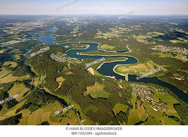 Aerial view, Bigge Reservoir, Biggetal Dam, Kreis Olpe district, Sauerland, North Rhine-Westphalia, Germany, Europe
