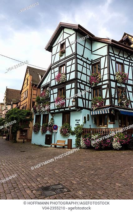 The picturesque village of Riquewihr, Alsace, France, Europe