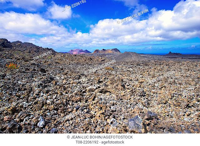 spain; canary islands; lanzarote : timanfaya, lava field