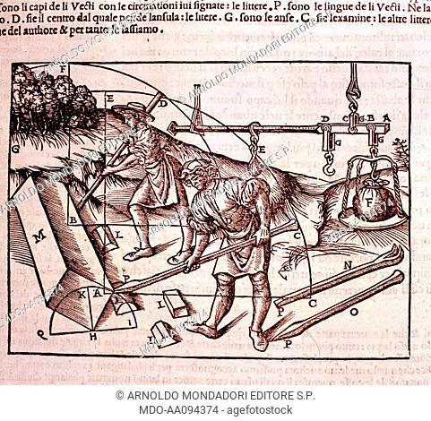 Archimedes' Lever (La leva di Archimede), by Cesare Cesariano, 1521, 16th Century