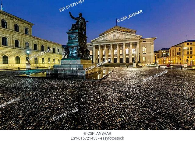 The National Theatre of Munich, Located at Max-Joseph-Platz Square in the Morning, Munich, Bavaria, Germany
