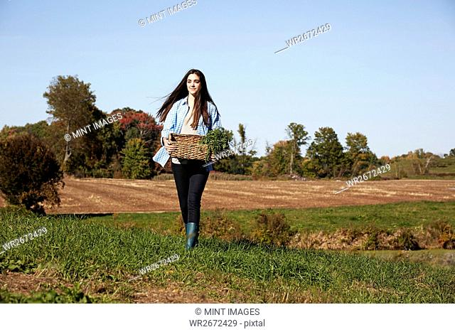 A young woman in working clothes walking across a field, holding a basket of crops