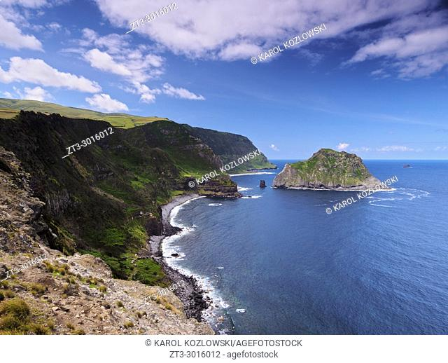 Coastal view towards Ilheu de Maria Vaz, Flores Island, Azores, Portugal