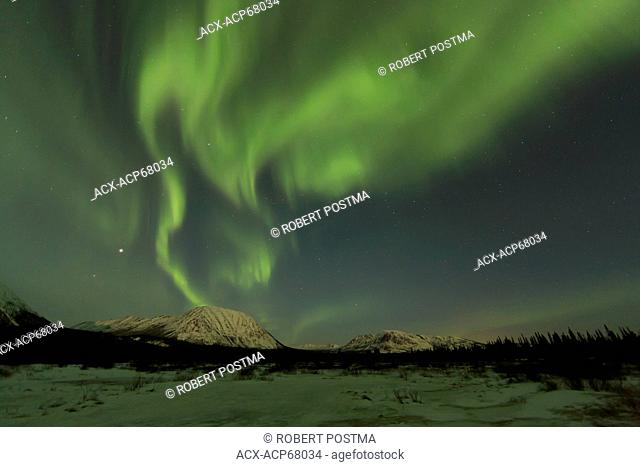 Aurora borealis or northern lights in the night sky near Whitehorse, Yukon