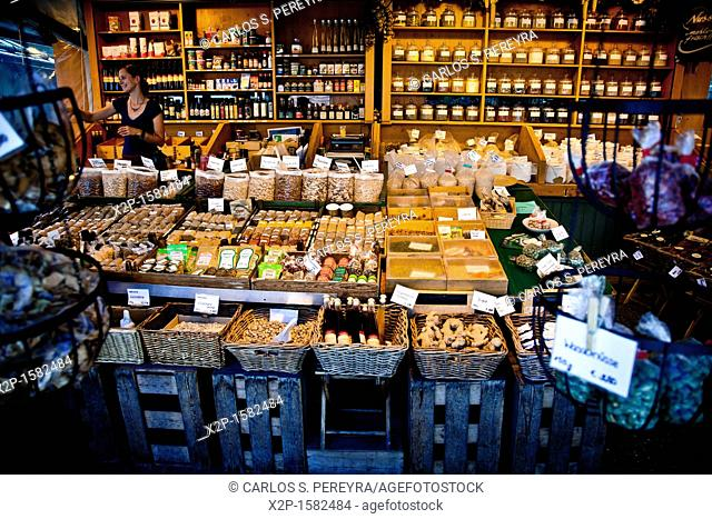 Sales of traditional products in the market and selected market Viktualienmarkt, Munich, Germany
