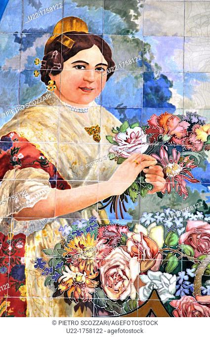Valencia, Spain: Estación del Norte, tiles depicting a Valencian woman in traditional dress