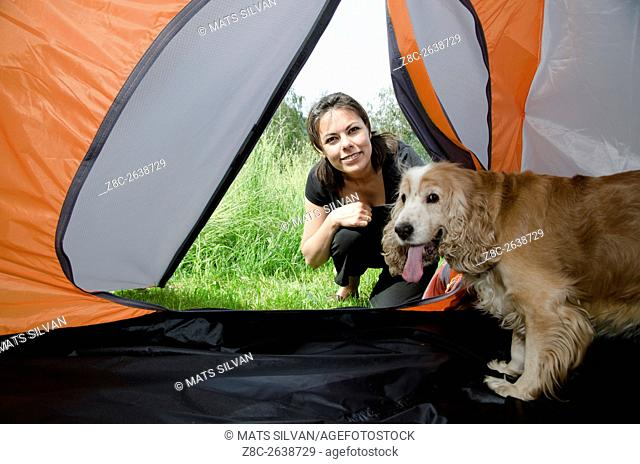 Woman watching inside a tent with her cute cocker spaniel dog in Ticino, Switzerland