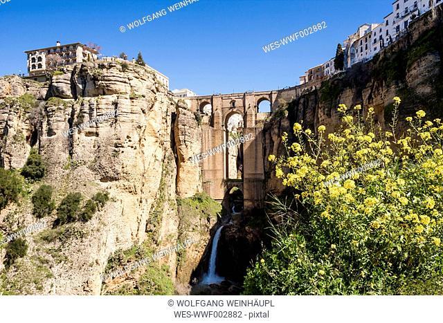 Spain, Ronda, View of Puente Nuevo bridge at Ronda