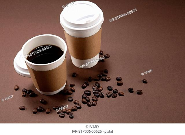 Disposable Cup And Coffee Beans