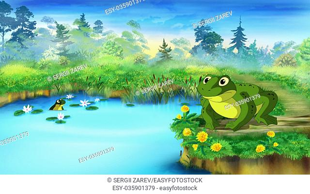Green Frog Sitting and Croaking Near the Pond in a Summer day. Digital painting cartoon style full color illustration