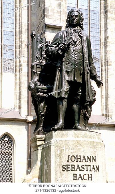 Germany, Saxony, Leipzig, Johann Sebastian Bach statue