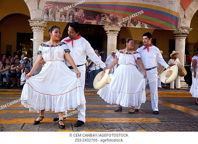 Guest musicians and dancers from Tabasco State during a performance on the weekly sunday morning show in Merida, Yucatan Province, Mexico, North America