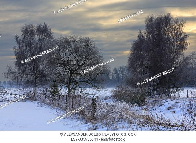 Wintertime sunset over meadows and forest with sun behind cloud,Podlasie Region,Poland,Europe