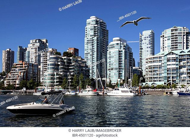 View from Granville Island across False Creek onto the skyline of Vancouver, British Columbia Province, Canada