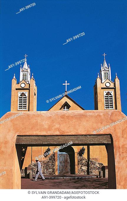 San Felipe de Neri Church founded in 1706, old town Albuquerque. New Mexico, USA