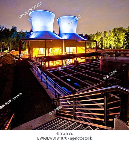 'World of Water' with cooling towers beside the Jahrhunderthalle in the the West Park Bochum, Germany, North Rhine-Westphalia, Ruhr Area, Bochum
