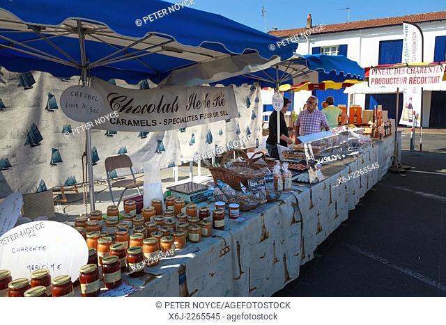 Market stall selling Honey at Saint-Palais-sur-mer