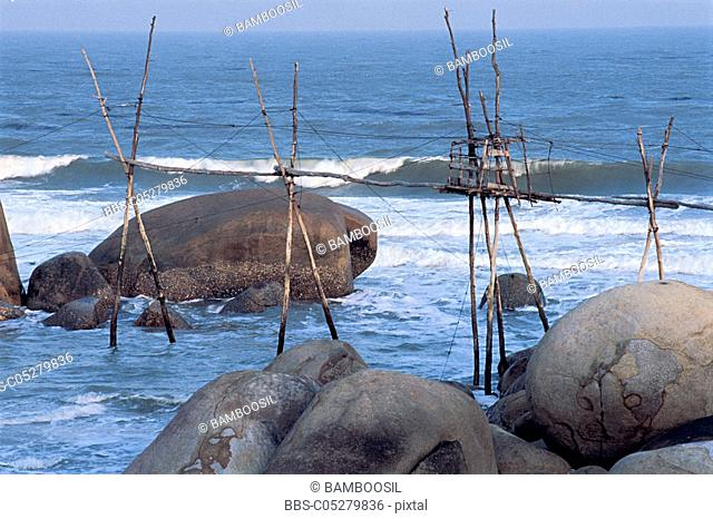 Bamboo poles seashore, Zhangpu County, Fujian Province of People's Republic of China