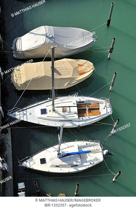 Boats from above, port Lindau, Lake Constance, Bavaria, Germany, Europe