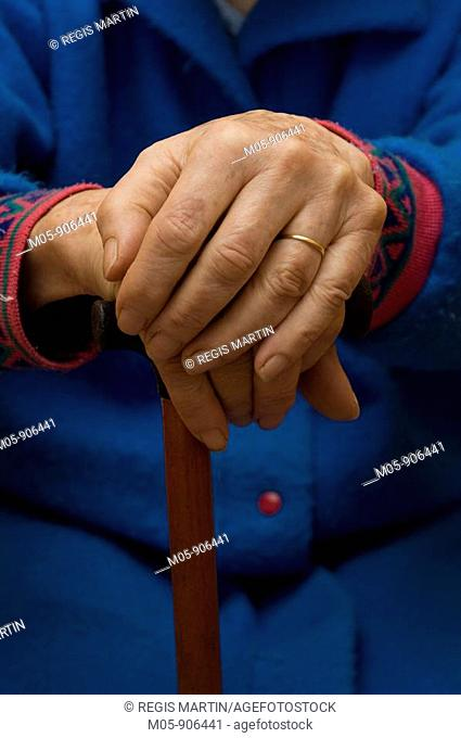 Senior citizen hands, image is model released